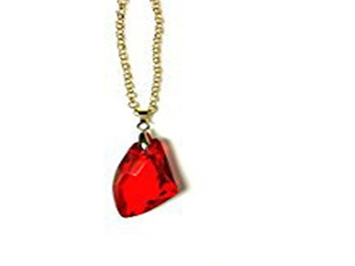 Inspired Harry Potter Sorcerer Stone Design Necklace Gold Tone with Red Crystal