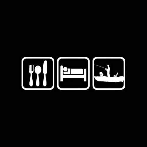 バンパーガラスステッカー 15.3cm * 4.8cmの食事および睡眠の釣車のスタイリングのステッカー車のステッカー (Color : White)