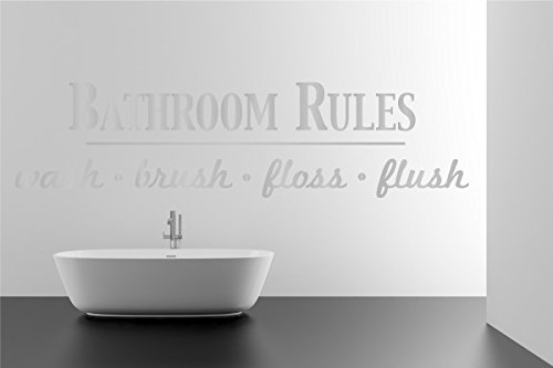 01 Wall Sticker - Bathroom Rules Wash Brush Floss Flush Quote Saying Wall Sticker Removable Home Decor Vinyl Decal Art (Silver, 9x36 inches)