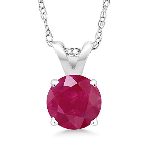 Gem Stone King 0.55 Ct Round Red Ruby 14K White Gold Pendant With Chain