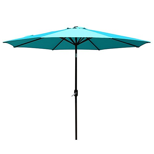 Sumbel Outdoor Living 10 FT Round Market Patio Umbrella with Push Button Tilt and Crank Lift, Turquoise For Sale