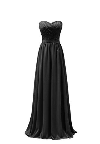 Dobelove Amie Des Femmes Lacée Longue Robe De Demoiselle D'honneur En Mousseline De Soie Noire