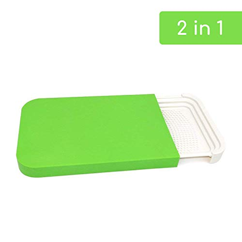 Plastic Dishwasher Safe Colander (2 in 1 large plastic cutting board mat, non-slip cutting boards for kitchen with Strainer, Wash Tray, Colander, Dishwasher Safe, 16.1 Inch, Green. Camping cookware and camping accessories.)
