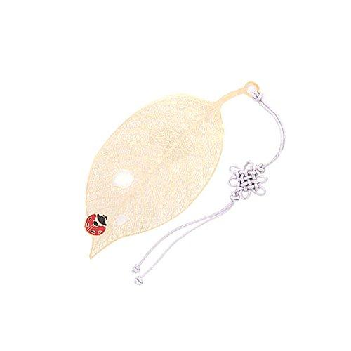 Parkssi 24K Golden Macrame Tassel Foliage Leaf Bookmark - Various Designs (03. ladybug on leaf)