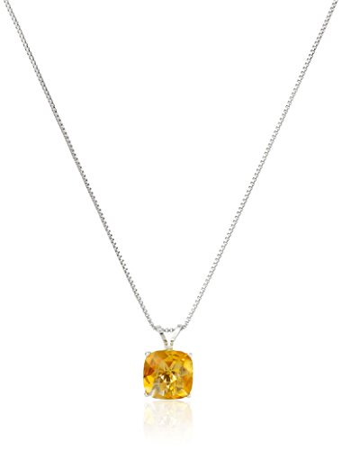 (Sterling Silver Cushion-Cut Checkerboard Citrine Pendant Necklace (8mm))