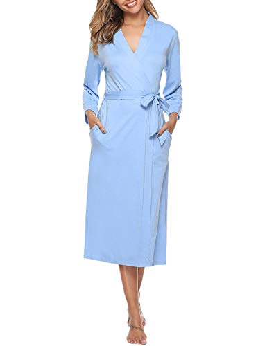 Abollria Women Kimono Robes Cotton Long Bathrobe Lightweight Sleepwear Soft Lounge Robe with Pocket (Blue, Medium) (Robe Length Calf)