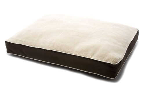 Dog Gone Smart Bed Canvas with Sherpa Top Rectangular Pet Bed with Ecru Piping, Brown, Large, My Pet Supplies