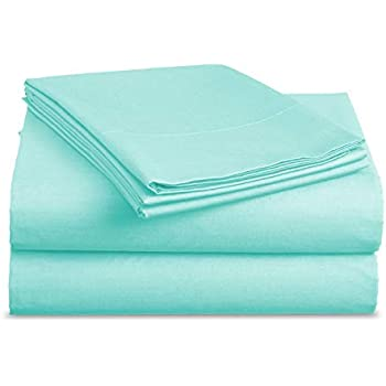 Luxe Bedding® Bed Sheet Set - Brushed Microfiber 2000 Bedding - Wrinkle, Fade, Stain Resistant - Hypoallergenic - 4 Piece (Queen, Aqua Sky)
