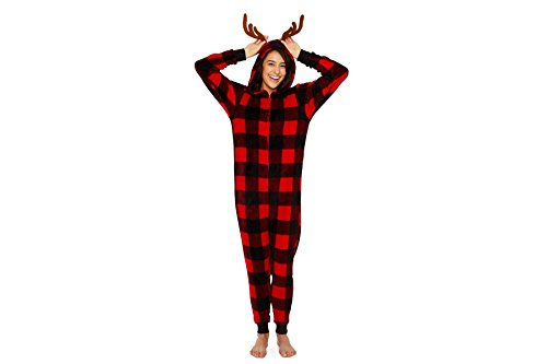 Secret Santa Women's Buffalo Check with Antlers Long Sleeve One Piece Pajama Onesie (Large, Buffalo Plaid) (Santa Onesie Pajamas)