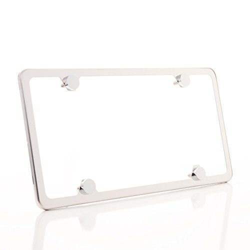 (KA LEGEND One Polish Mirror Chrome T304 Stainless Steel Four Hole Slim License Plate Frame Holder Front Or Rear Bracket with Metal Screw Cap)