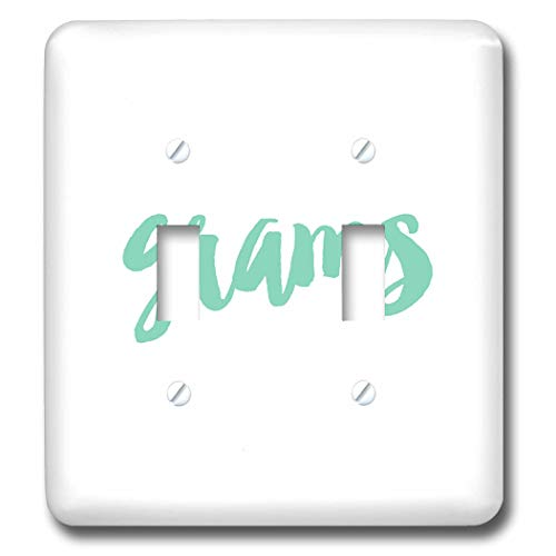 3dRose Becky Nimoy Stationery - Women - Grams in aqua blue green brush lettering style - Light Switch Covers - double toggle switch (lsp_289197_2)