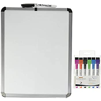 Magnetic 11'' x 14'' Small Dry Erase Whiteboard. Includes 6 Magnetic Dry Erase Markers, Assorted Colors. Great for Fridge, Locker, and More!