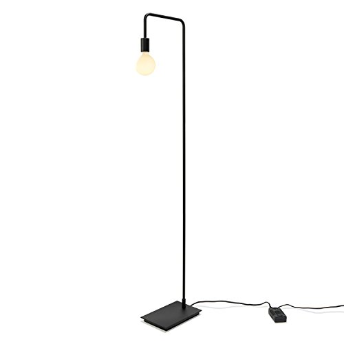 (Black Modern Floor Lamp, Contemporary Style Reading Light, Plugin, in-line Dimmer Included, ETL Listed, Hoyt Design by Brooklyn Bulb Co.)