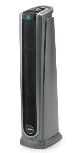 Lasko Ceramic Tower Space Heater with Logic Center Digital Remote Control-Features Built-in Timer and Oscillation, 7.3L x 9.2W x 29.75H, Black 5572