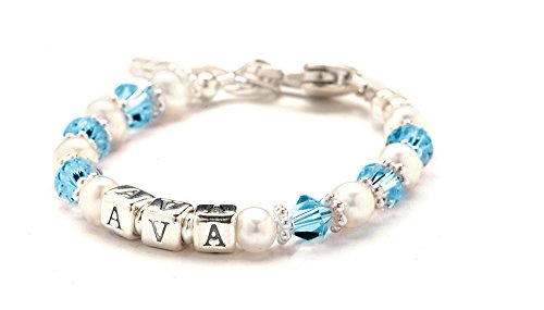 Childs Name Bracelet - March Birth Month Crystal & Cultured Freshwater Pearls