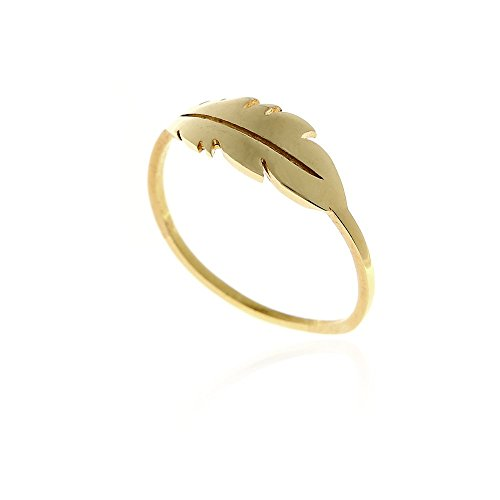 Feather ring 14k gold solid stacking midi gypsy boho (French Gold Santa)
