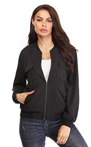 MISS MOLY Women Classic Zip Up Rib Collar Lightweight Jackets Casual Solid Biker Bomber Jacket Coat Black M ()