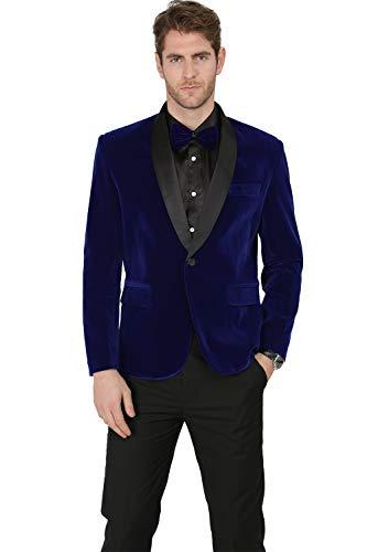 MAGE MALE Men's 2-Piece Suit Velvet Blazer Tuxedo Slim Fit One Button Stylish Dinner Jacket & Pants & Bow Tie]()