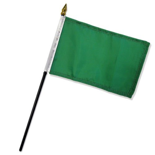 Solid Green Plain Flag 4''x6'' Desk Set Table Stick Black Base BEST Garden Outdor Decor polyester material FLAG PREMIUM Vivid Color and UV Fade Resistant by Moon