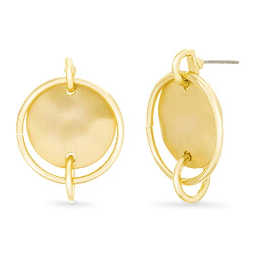 - Catherine Malandrino Hammered Design Interlock Circle Yellow Gold -Tone Post Drop Earrings for Women