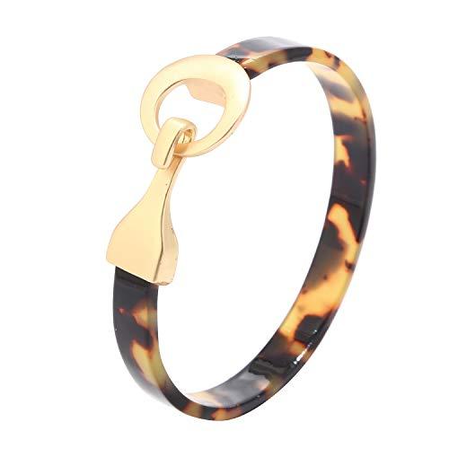 Miweel Open Cuff Bracelet Statement Acrylic Resin Lucite Cuff Bracelet Minimalist Tortoise Shell Bangles Bracelet Lightweight Bangle