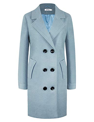 Blue Trench Coat - APTRO Women's Winter Double Breasted Wool Coat Long Lapel Overcoat WS01 Light Blue L