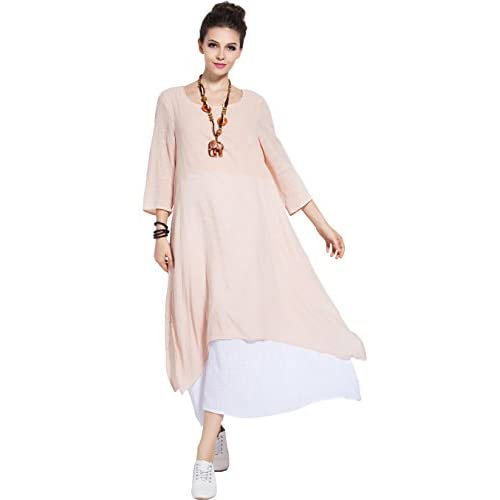 Anysize Spring Summer Fake Two Piece Linen&Cotton Dress Plus Size Dress Y82 for sale