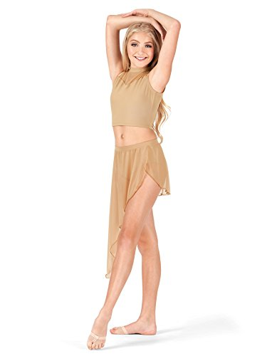 (Body Wrappers Adult Asymmetrical Drape Dance Skirt BW9106NUDXSS Nude XSS)