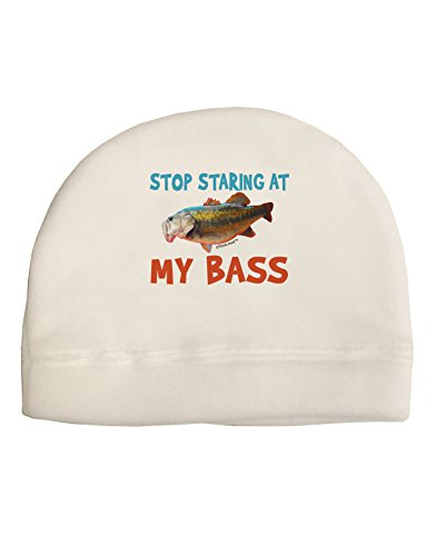 TooLoud Stop Staring at My Bass Adult Fleece Beanie Cap Hat White