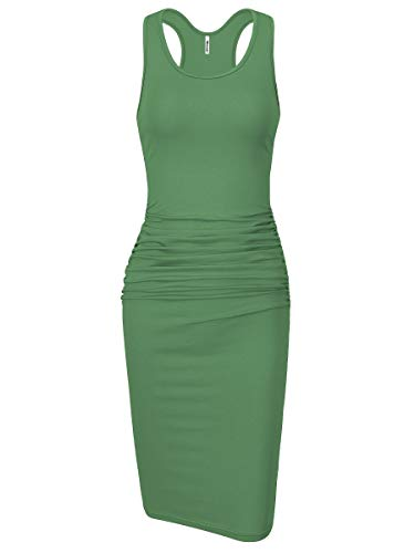 - Missufe Women's Sleeveless Racerback Tank Ruched Bodycon Sundress Midi Fitted Casual Dress (Light Green, Large)