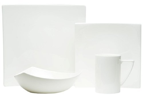 Red Vanilla Extreme White 16-Piece Dinnerware Set - Set includes: four 10.25 inch square dinner plates, four 8.25 inch square salad plates, four 13 ounce mugs, four 7.75 inch 20 ounce triangle soup bowl Contemporary style Every day china - kitchen-tabletop, kitchen-dining-room, dinnerware-sets - 319TsdUDsjL -