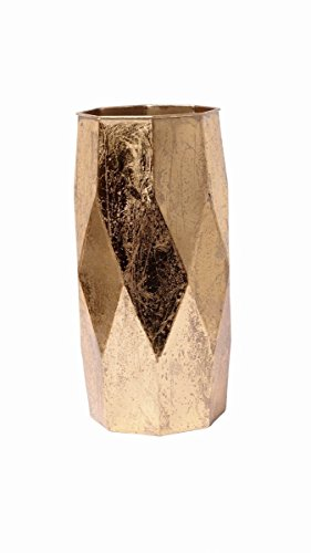 Hosley's Gold Leaf Colored Finish Geometric Metal Vase, 12.75