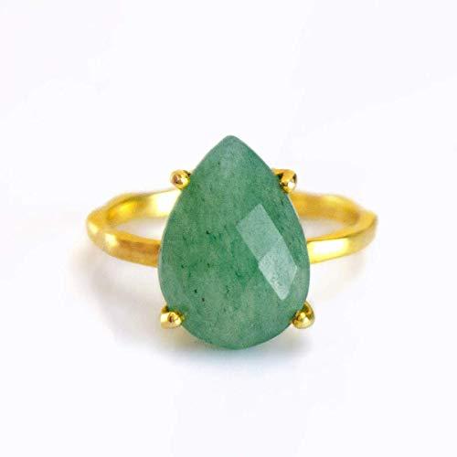 Green Aventurine Teardrop Ring, Vermeil Gold or Sterling Silver, Prong set ring