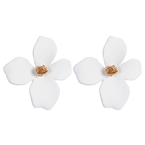 Boho Stud Earrings for Women - Chic Flower Statement Earrings with Gold Flower Bud, Great for Sister, Mom, Lover and Friends (White)