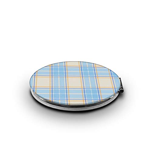 TRENDCAT Double Sided Blue Lattices Makeup Mirror - Compact Folding Vanity Magnifying and Travel Mirror