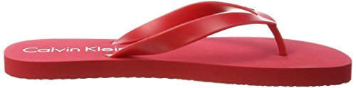 Calvin Klein Logo Tape Mens Flip Flops, Black 601 Racing Red