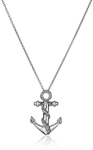 Sterling Silver Diamond Anchor Pendant Necklace (1/10 cttw, I-J Color, I2-I3 Clarity), 18""