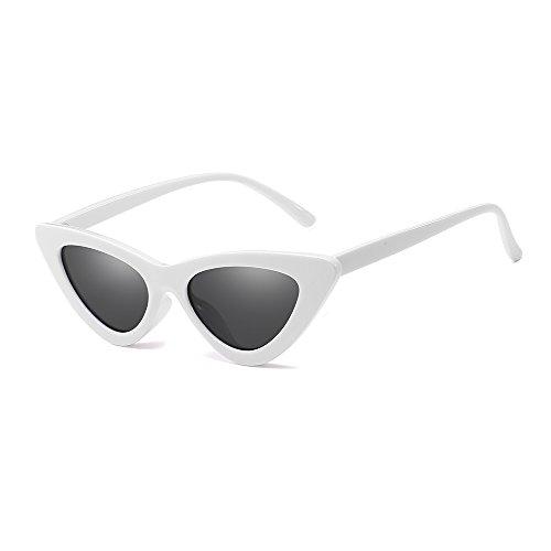 BLEVET Retro Narrow Cat Eye Sunglasses for Women Vintage Clout Goggles Plastic Frame BL055 (White Frame-Grey) (Sunglasses Womens Mini)
