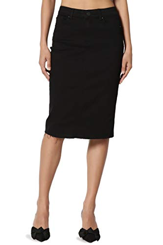 TheMogan Women's Butt Lift Washed Blue Jean Pencil Midi Soft Denim Skirt Black S (Black Pencil Skirt Pockets)