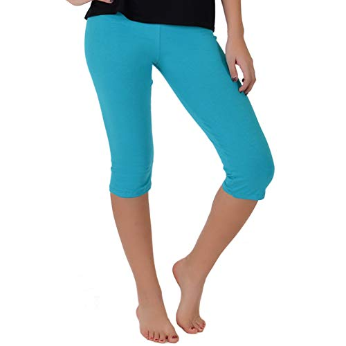 (Stretch is Comfort Girl's Knee-Length Leggings Turquoise Small)