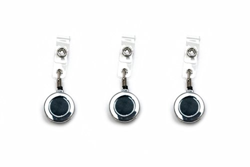Blue Shoe Guys Premium Heavy Duty Chrome Badge Reels for Key & ID Cards - Industrial Strength Zinc Alloy with Case & Belt Clip | 3-Pack | Love It Or It's Free Guaranteed - 100%