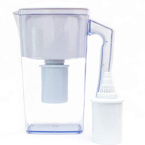Plant Based Pros Alkaline Water Filter Pitcher - 2.5L Healthy Pure Water Ionizer, Two 60-Day Activated Carbon Filters, BPA Free, Healthy, Clean, Toxin-Free Alkaline Water Up to PH 9.5 - New 2019