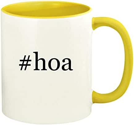 #hoa - 11oz Hashtag Ceramic Colored Handle and Inside Coffee Mug Cup, Yellow