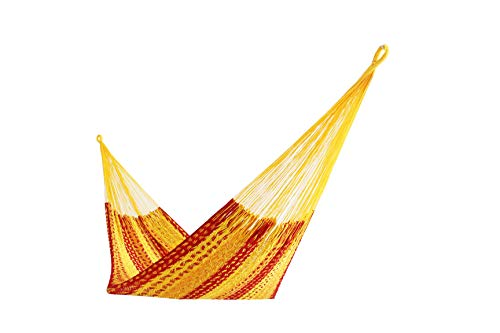 Thick Cord Mayan Hammock XXL Tequila Color Red Orange and Yellow in Cotton