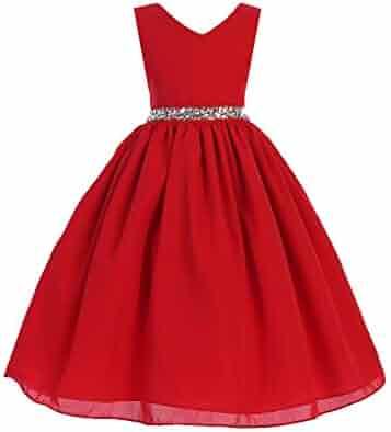 7535cb4f062c Ellie Kids Little Girls Red Wool Dobby Rhinestone Adorned Christmas Dress  4-6