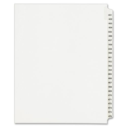 Avery Legal Dividers, Standard Collated Sets, Letter Size, Side Tabs and 451-475 Tab Set (01348)