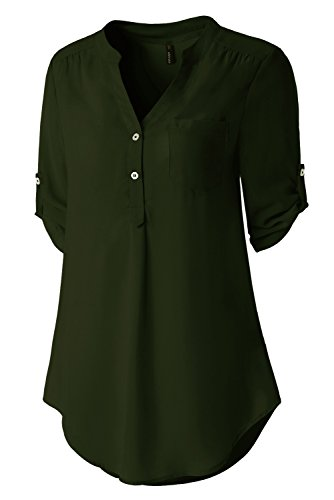 Green 3/4 Sleeve Top - Zattcas Womens V Neck Blouses Chiffon Button Down Shirts 3/4 Roll up Sleeve Tunic Tops (Large, Army Green)