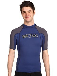 O'Neill Wetsuits Skins Short Sleeve Crew, FathBlu/Graphite, X-Small