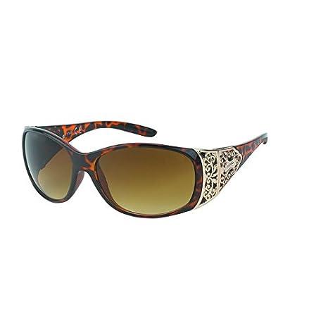 Sonnenbrille Damen Glamour getönt 400UV Metallornament Bügel oval groß