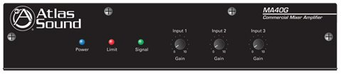 Atlas Sound MA40G Global Mixer Amplifier 3 Channel 40 Watt Balanced MicLineTel Input by Atlas Sound